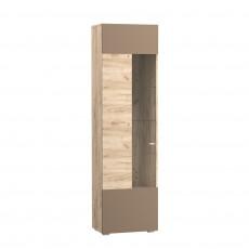 Dulap cu vitrină Mobi Riga 08.43 (52 cm), Дуб серый CRAFT K 002 PW, Латте