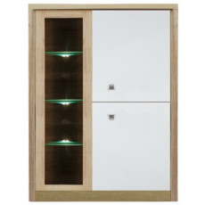 Dulap cu vitrină Fadome Milano MI2A (90 cm), White/Wood