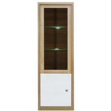 Dulap penal cu vitrină Fadome Milano MI2W (54 cm), Wood/White