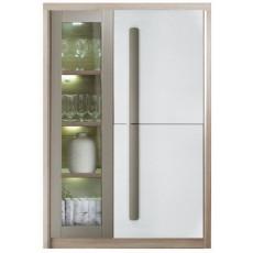 Dulap cu vitrină Fadome Roma ROM2A (90 cm), Wood/White/Grey