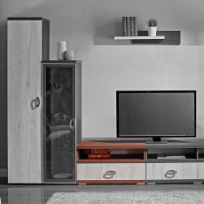 Comoda TV Ambianta Duet (80 cm), Sonoma Inchis/Alb Samoa
