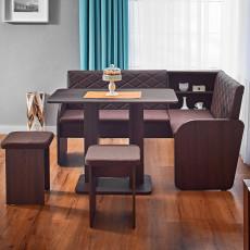Colț de bucătărie Ambianta Cezar cu 2 taburete ,Sonoma Dark