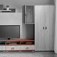 Comoda TV Ambianta Duet (120 cm), Sonoma Inchis/Alb Samoa