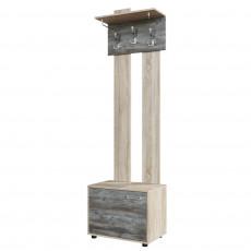 Cuier de perete SV - Мебель ВИЗИТ 1 с обувницей (60 cm), Дуб Сонома / Сосна Джексон