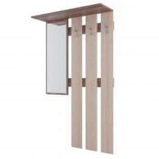 Cuier cu oglindă SV - Мебель ПРИХОЖАЯ № 2 (90 cm), Ясень шимо тёмный / Ясень шимо светлый