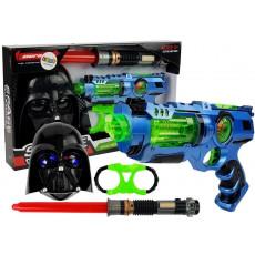 Leantoys 7096 Set de joaca cu masca, sabie si pistol laser cu sunete si accesorii