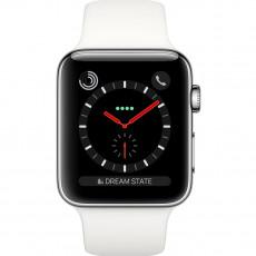 Ceas inteligent Apple Watch 3 42mm (GPS), Silver, White Sport Band
