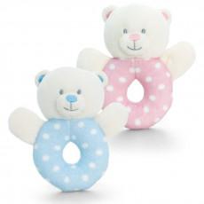 Keel Toys SN0769 Мягкая игрушка Медвежонок-погремушка Baby Bear Ring Rattle, 12cм