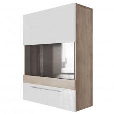 Dulap de perete SV - Мебель Ницца (70 cm) горизонтальный (700), Каньон светлый / Белый глянец