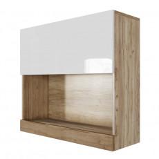 Dulap de perete SV - Мебель Ницца (80 cm) горизонтальный (800), Галифакс табак / Белый глянец