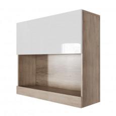 Dulap de perete SV - Мебель Ницца (80 cm) горизонтальный (800), Каньон светлый / Белый глянец