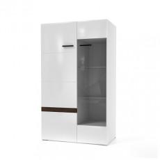 Dulap cu vitrină SV - Мебель Соло (80.1 cm), Белый / Белый глянец-Венге