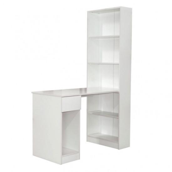 Шкаф стелаж комбинированный Mobi Лайт 10.01 (115.3 см) со столом, Белый гладкий