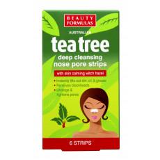 Beauty Formulas Tea Tree Deep Cleansing Nose Strips 6pcs - Plasturi pentru curatarea porilor nasului cu extract de arbore de ceai
