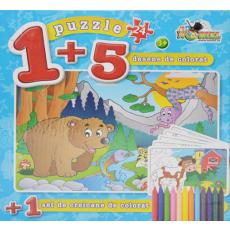 """Noriel NOR0415 Puzzle """"Urs"""" 24 piese. Coloreaza-ma  + 5 planse de colorat."""