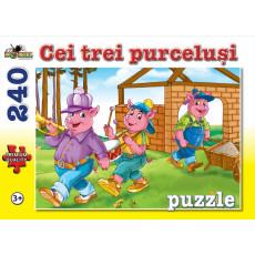 "Puzzle Noriel NOR4506 ""Cei trei purcelusi"" 240 piese. Colectia Povesti"