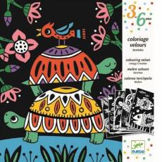 "Djeco DJ09624 Set pentru desen - Animale amuzante ""Coloring velzet (Creepy)"""
