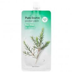 Missha Pure Source Pocket Pack (Tea Tree) - Ночная несмываемая противовоспалительная маска с экстрактом чайного дерева