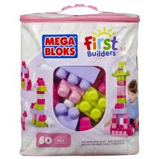 "Mattel DCH54 Set Mega Bloks - primul constructor - seria ""First Builders"" Roz 60 piese"