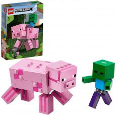 LEGO Minecraft 21157 Porc BigFig cu bebelus de zombi