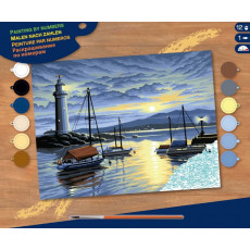 Sequin Art Paint by Numbers SQ0427 Set creativ ,,Harbour at Sunri''