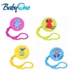 Clipsă-suport pentru suzetă cu lanț BabyOno Green/Blue/Rose/Yellow