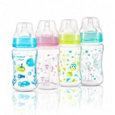 Biberon anti-colic 240 ml BabyOno din plastic cu gât larg Blue/Rose/Minty/Light Green