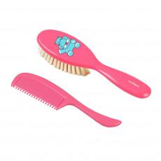 Perie și pieptene BabyOno din păr natural, Pink