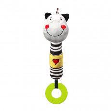 """BabyOno 0634 Jucărie de pluș cu sunete """"Zebra Zack"""" cu inel pentru dentiție"""