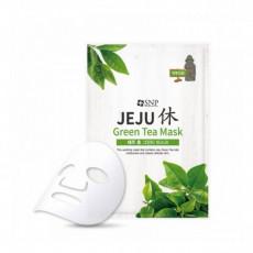 SNP Jeju Rest Green Tea Mask - Mască de pânză cu extract de ceai verde